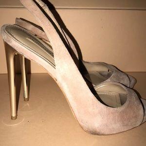 BCBGMaxAzria nude with gold heels
